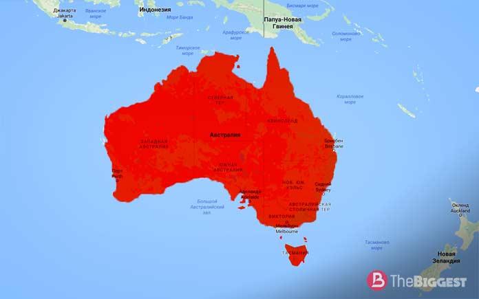 Австралия на карте мира