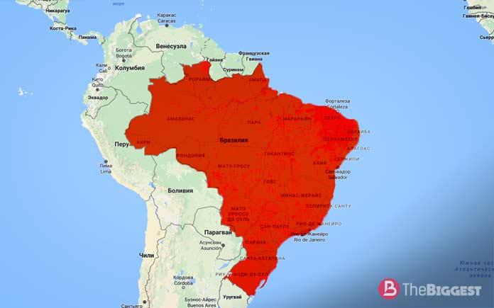 Бразилия на карте мира. Самые большие страны Земли