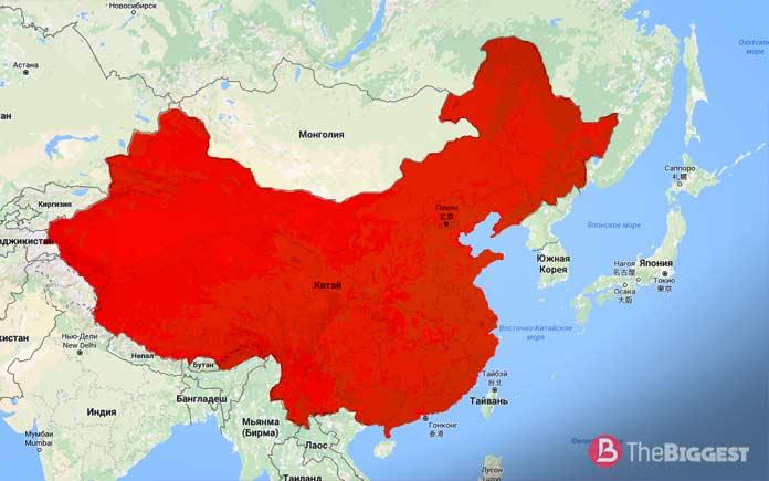 Китай на карте мира. Самые большие страны мира