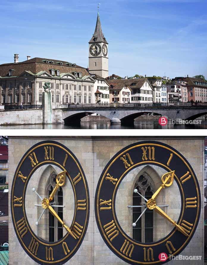 Самые большие часы в мире:Церковь Святого Петра в Цюрихе