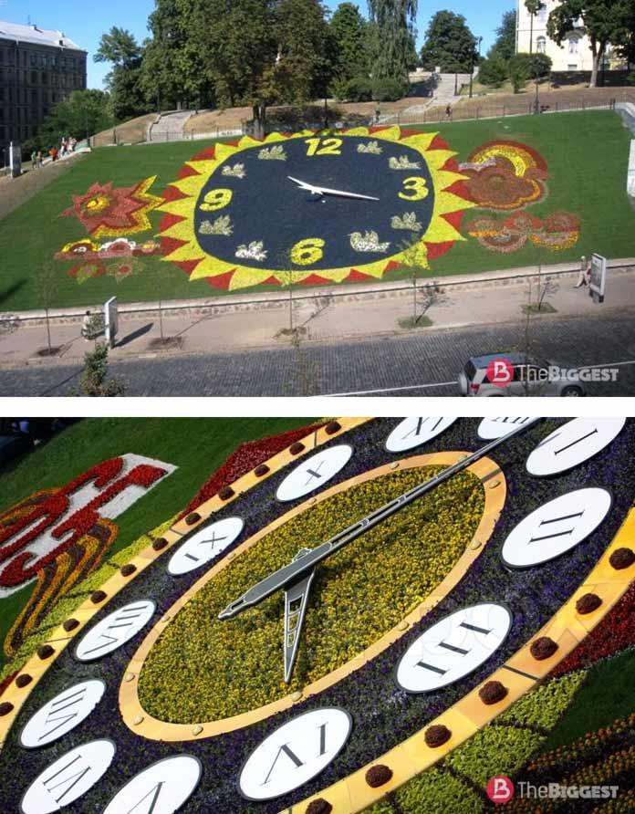 Самые большие цветочные часы в мире