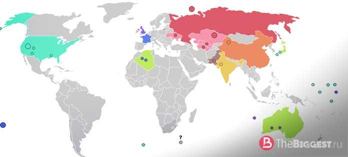 Карта ядерных полигонов