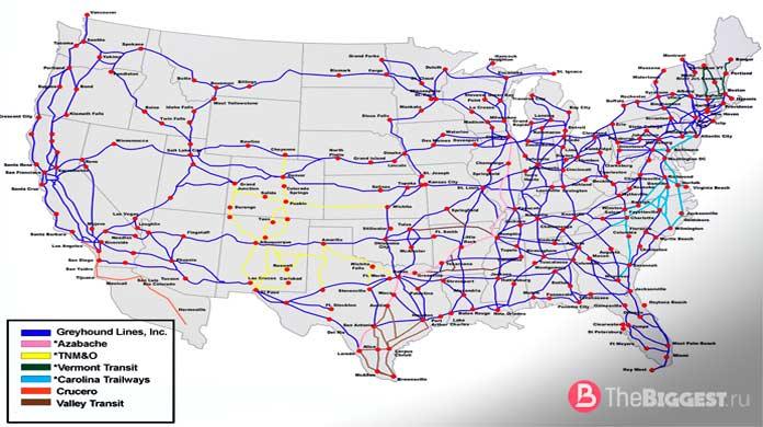 Сеть ЖД дорог США