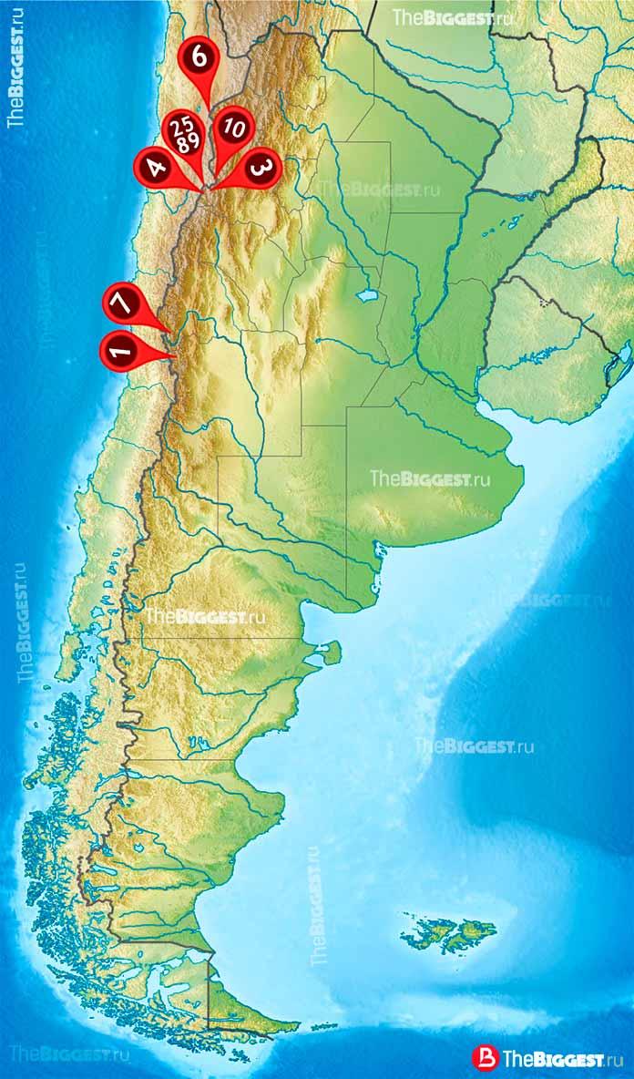10 самых высоких гор в Аргентине на карте