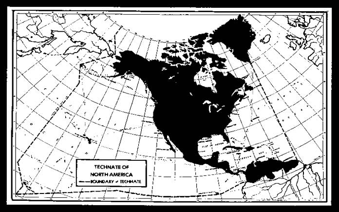 Карта Североамериканского Техната