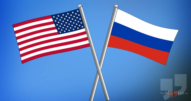 Флаги России и США сс0